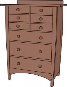 Gustav Stickley 913 9 drawer Dresser