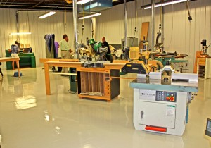 The woodworking shop at the Manufactory in Cincinnati, Ohio