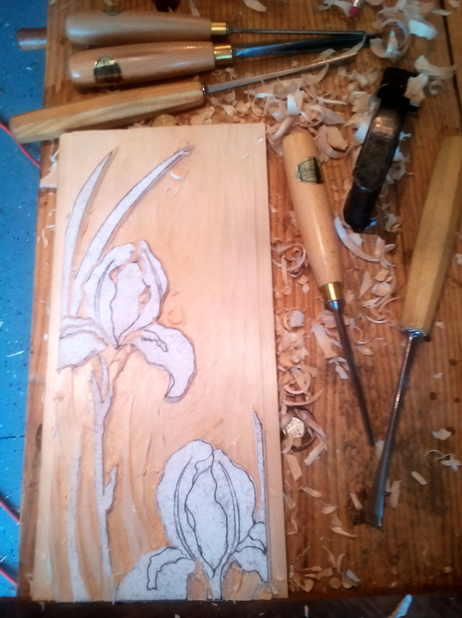 Byrdcliffe Iris panel in progress