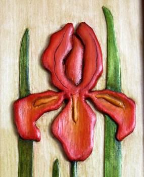 detail of iris carving by Robert W. Lang