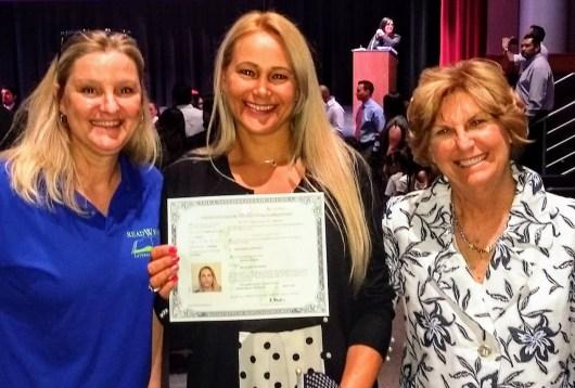 Cyndy, Marisol, and Lynn celebrate Marisol's US citizenship.