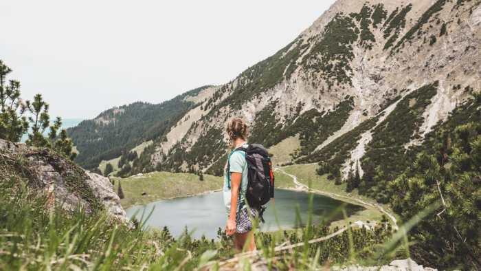 Hike to mountain like in Bavaria, Unterer Gaisalpsee