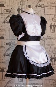 """Betty"" French Maid Dress in Satin With Removable Half Apron 3"