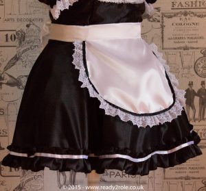 """""""Betty"""" French Maid Dress in Satin With Removable Half Apron 4"""