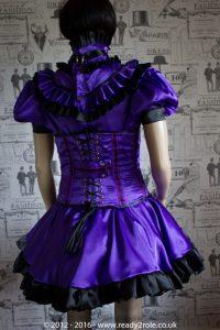 Candy Cupcake Corseted Sissy (Purple & Black) Satin Dress 6