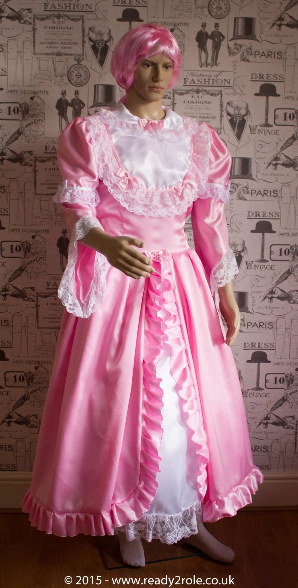 Princess Belle – Sissy Full Length Satin & Lace Dress – Ask About Colour Choices