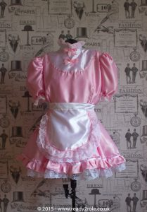 """""""Starre"""" French Maid Sissy Dress in Pink Satin With Removable Half Apron 1"""