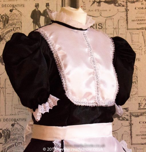 """""""Betty"""" French Maid Dress in Satin With Removable Half Apron 5"""