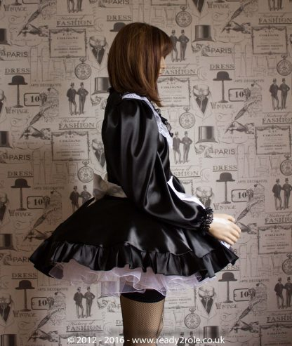 """Starre"" (Deluxe) French Maid Sissy Dress in Black Satin With Removable Half Apron 4"
