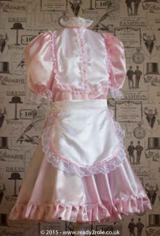 """""""Betty"""" French Maid Dress in Pink Satin With Removable Half Apron 1"""