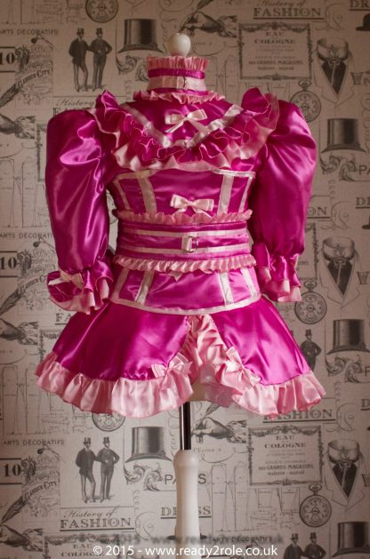 "The Candy Cupcake Corseted Sissy Dress in Satin with ""Bow Peek"" Front 5"