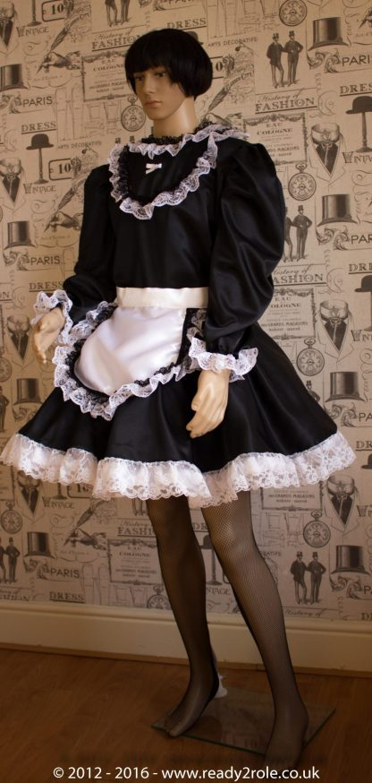 """""""Starre"""" French Maid Sissy Dress in Black Satin With Removable Half Apron 3"""