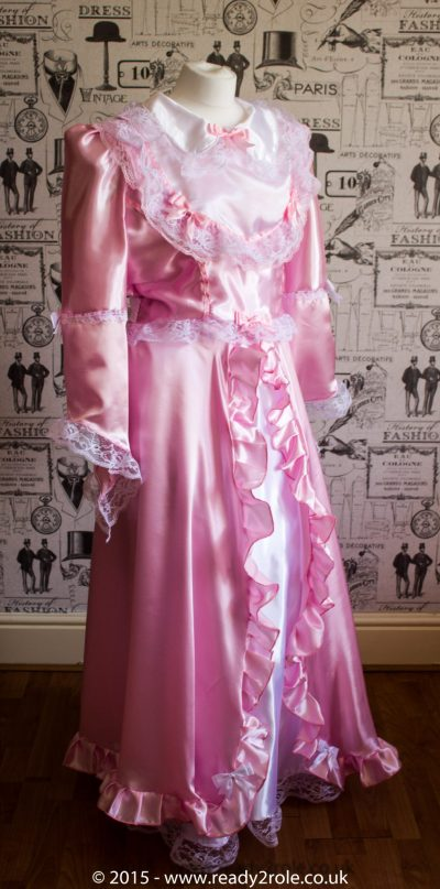 Princess Belle – Sissy Full Length Satin & Lace Dress 1