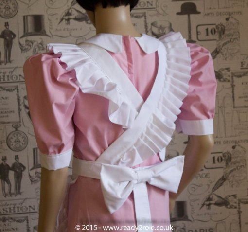 FPJ Full Service Cotton Sissy Maids Dress With Full Apron Pink Version 3