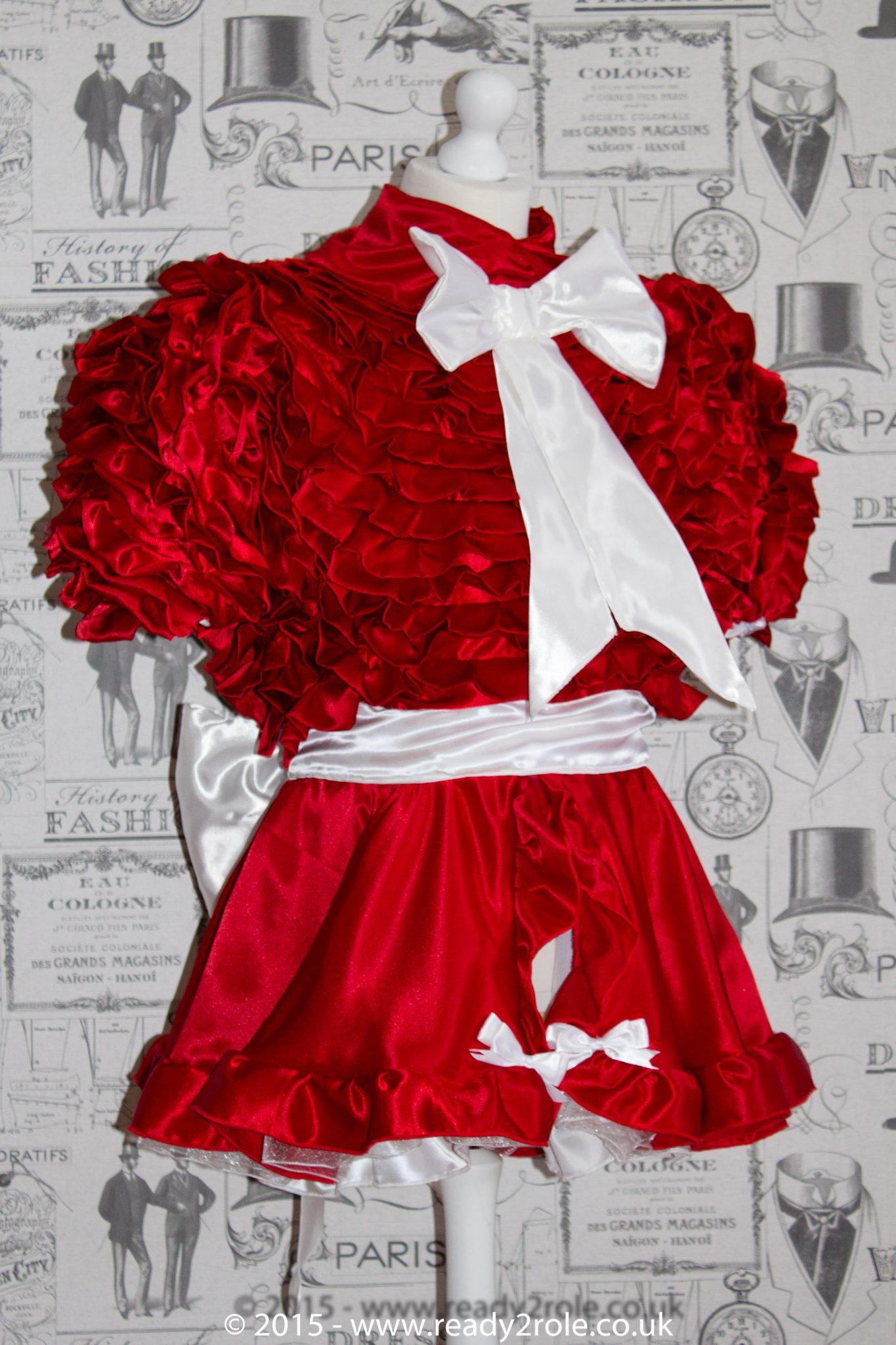 Bow Peek Sissy Satin Ruffle Dress – Red Version