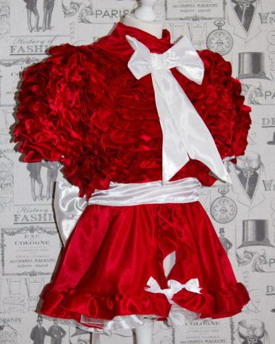 Bow Peek Sissy Satin Ruffle Dress – Red Version 1