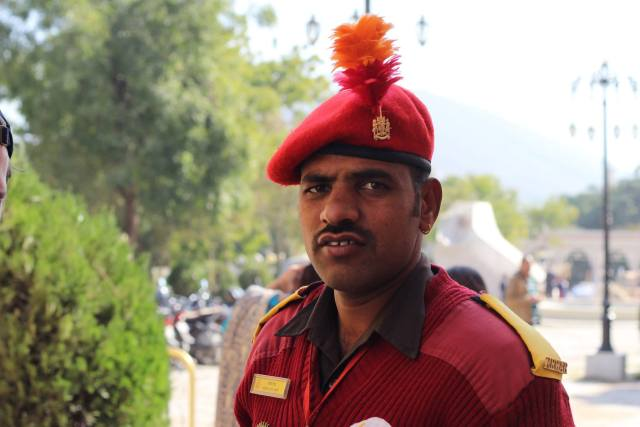 Royal Guard in Udaipur stands to attention