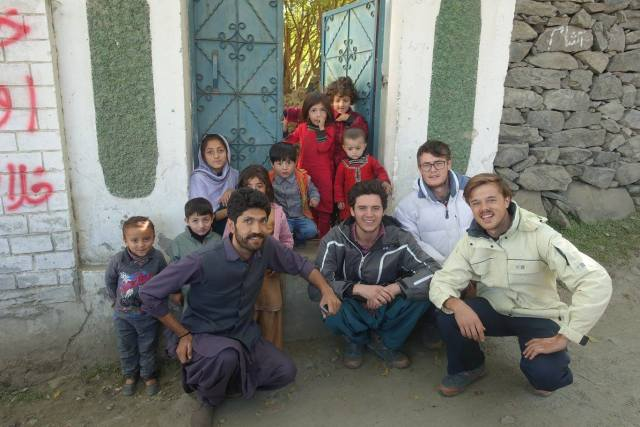 With Khadim's family who hosted us for two nights