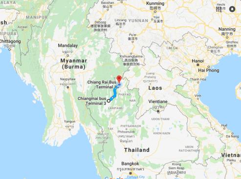 Chiang Mai to Chiang Rai map