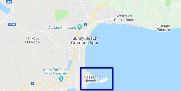 Nessebar Bulgaria and Sunny Beach Map