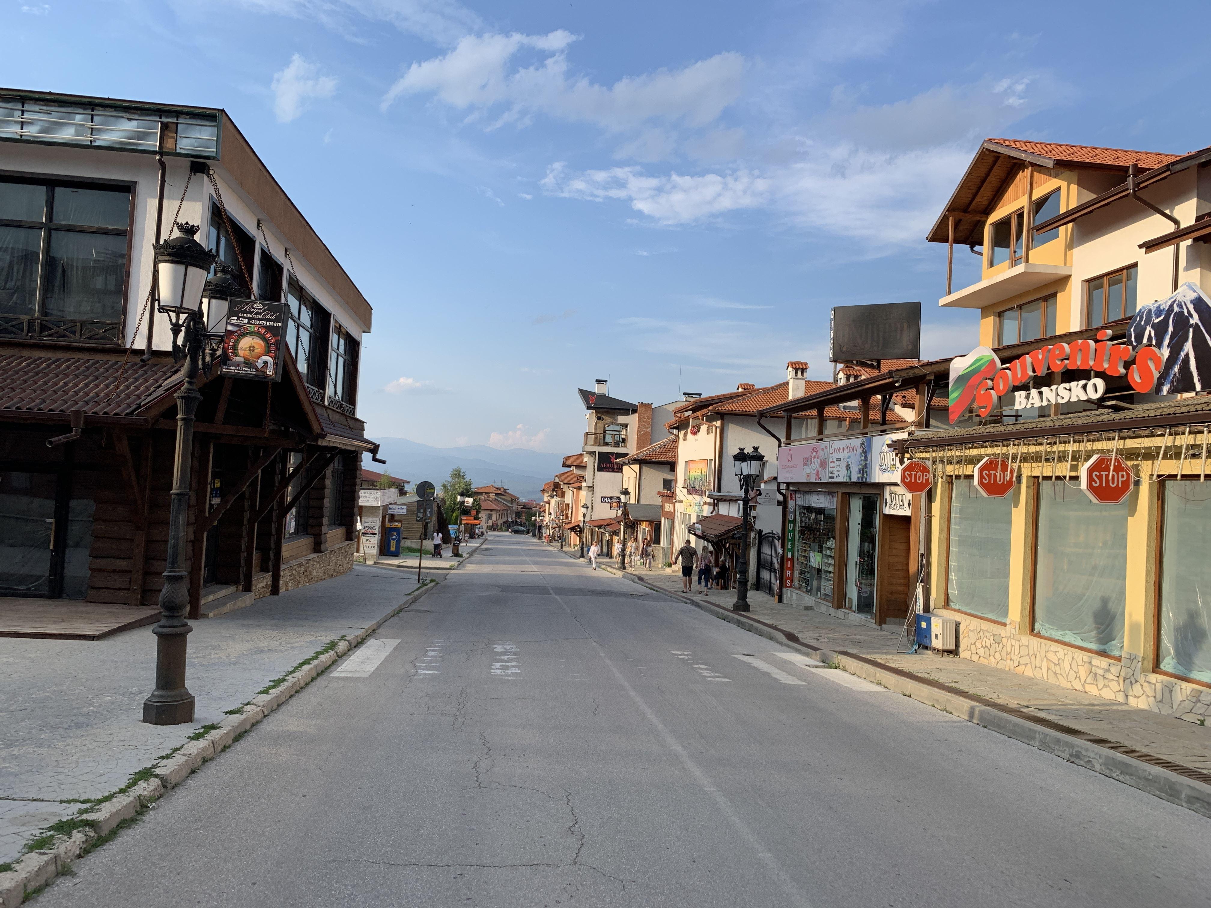 Bansko Bulgaria Empty Summer Streets Near Gondola