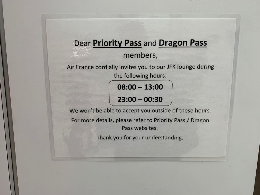 Priority Pass JFK Terminal 1 Air France Lounge Entry Times