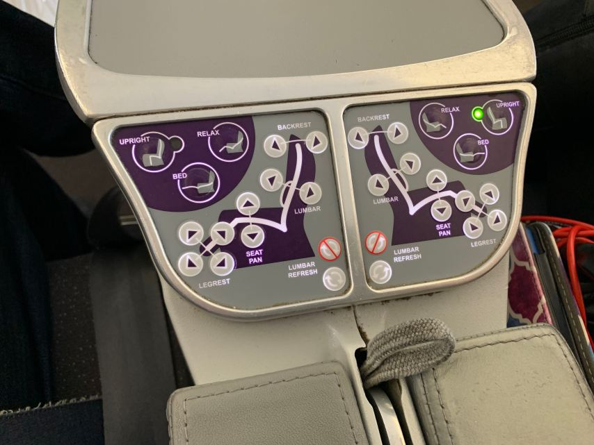 Avianca Business Class A330 Seat Controls