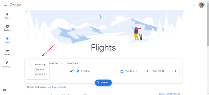 Google Flights Business Class