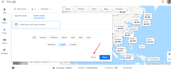 Google Flights map reset