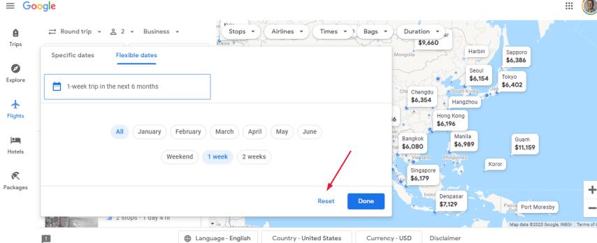 Google Flights map reset
