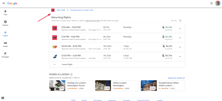 Return flight page basic search