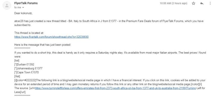 flyertalk gmail cheap business class fare