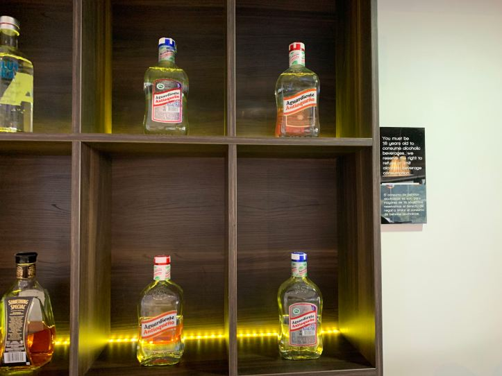 Medellin Airport Domestic Priority Pass Lounge Drinks Aguardiente