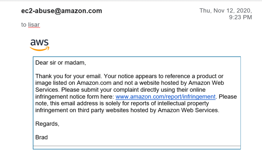 Amazon Web Services doesn't care