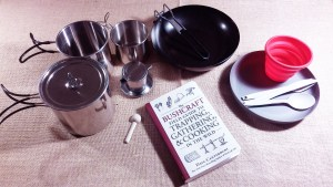 A book and cooking tools