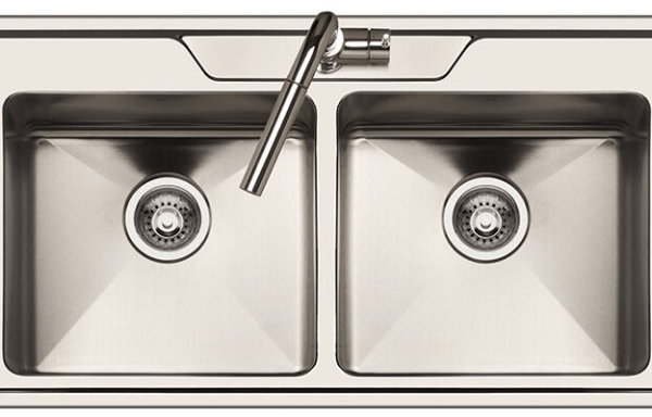 AFA Cubeline Double Bowl Drainer Inset Sink with Quick-fit Clips, 1 Taphole 1600 mm Stainless Steel