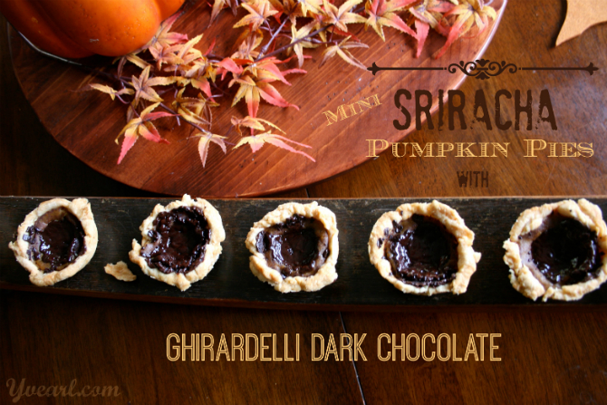 Mini Sriracha Pumpkin Pies with Ghirardelli Dark Chocolate