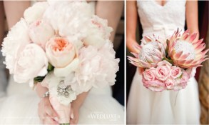 "These bouquets are so beautiful! The brooch is a great touch for the bride's bouquet and is the perfect ""Something Old."" I love the uniqueness of the flowers selected. Photo: WedLuxe"