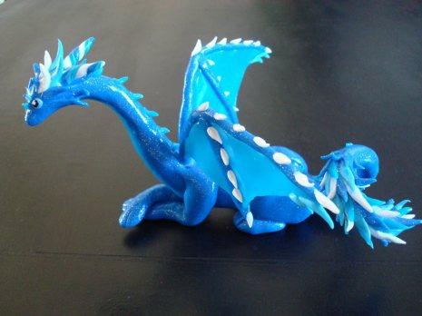 Blue Ice Dragon, polymer clay, 2014.