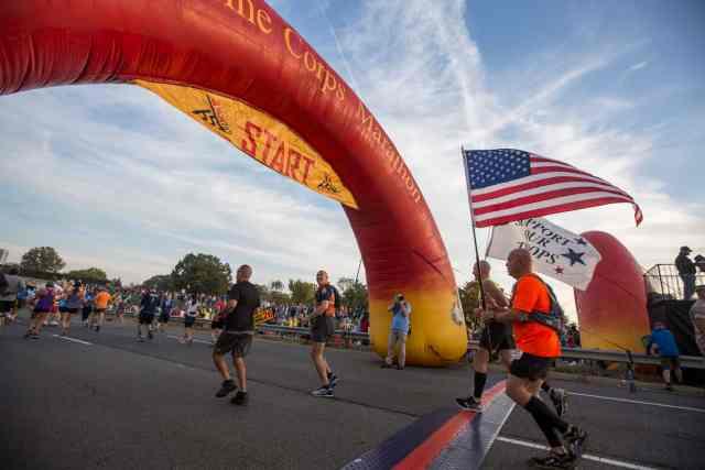 Runners run one of the best first marathons at Marine Corps Marathon.