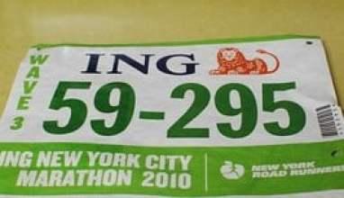 New York City Marathon Bib Showing Wave Start