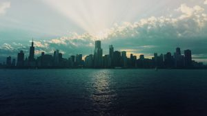 Chicago skyline as seen from Lake Michigan.