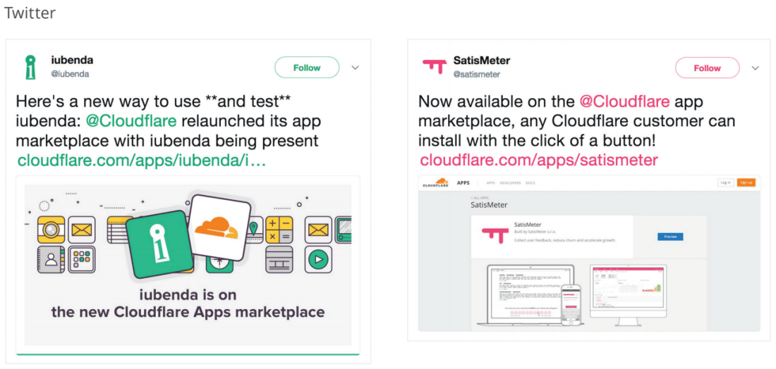 Examples of Twitter announcements