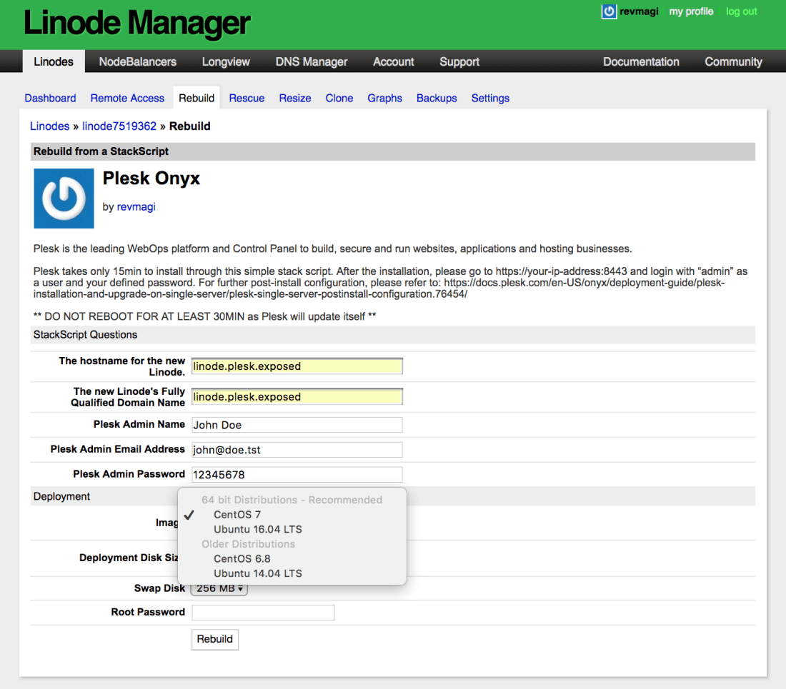 How to install Plesk on Linode - Step 6