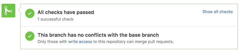 Screenshot of a successful test, taken on GitHub