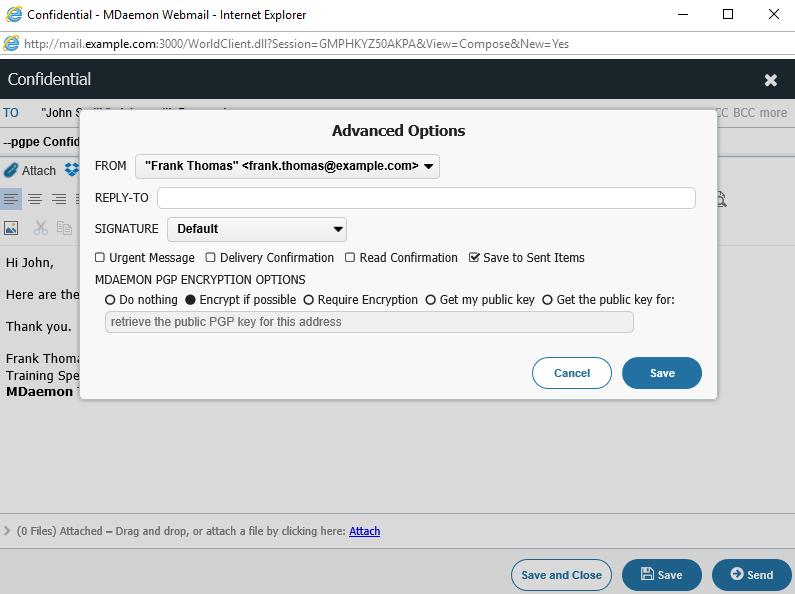 MDaemon Webmail Encryption using OpenPGP