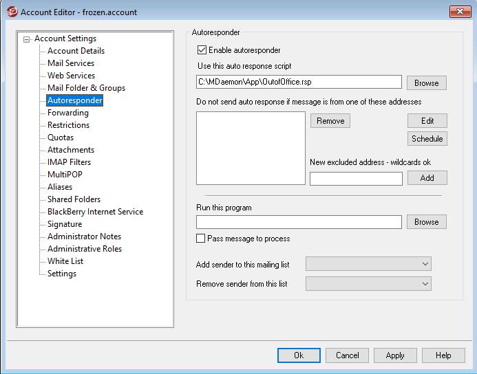 MDaemon Account Auto-Responder Enabled