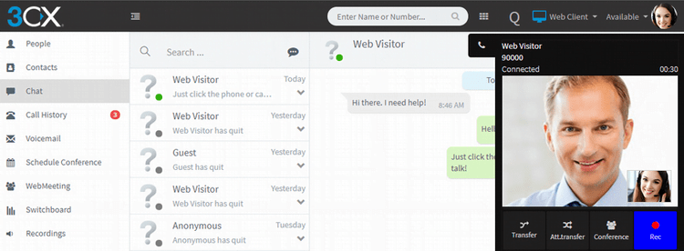 Video chat with your website visitors with the 3CX Live chat & Talk plugin