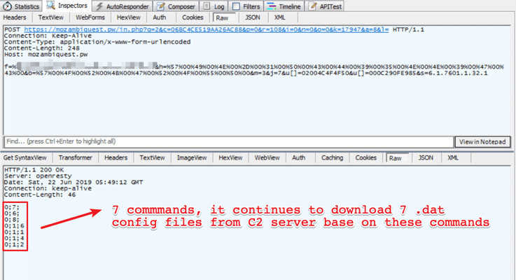 Figure 12. The initial communication with C2 server